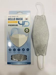 Khẩu Trang Cao Cấp 4D Hello Mask ( Caro Xám)